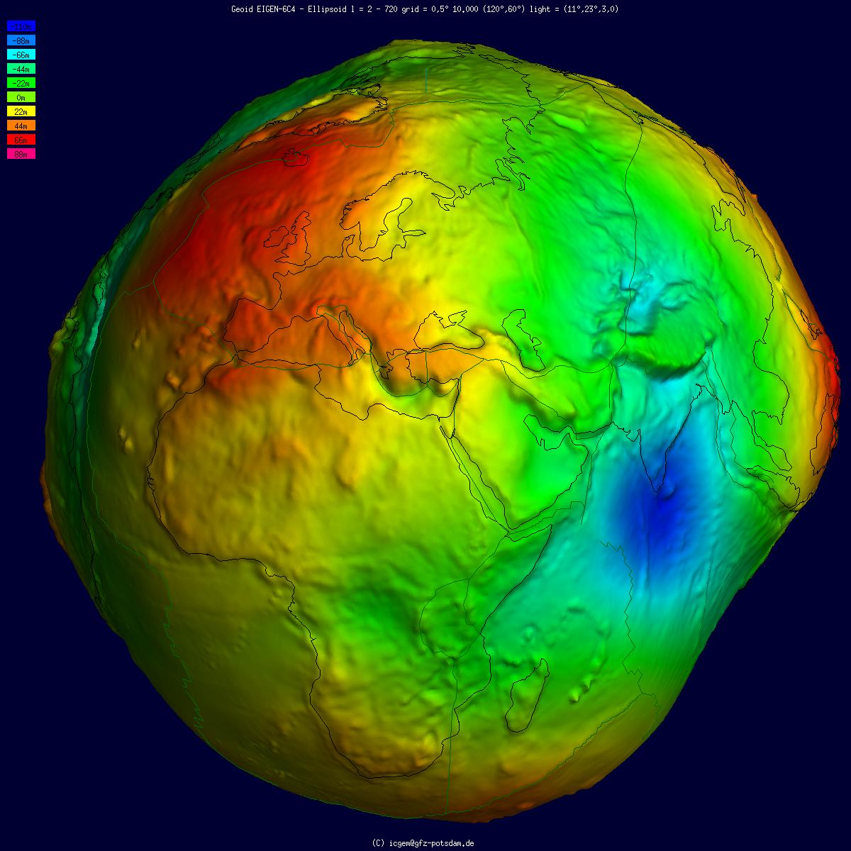 Geoid undulation in false color, shaded relief and vertical exaggeration (10000 scale factor).